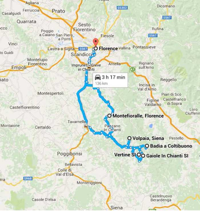 Map of Chianti Tuscany excursion route