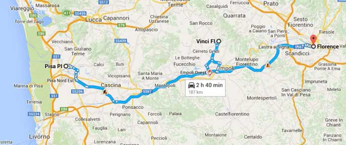 Map of Pisa and Da Vinci excursion route thru Tuscany