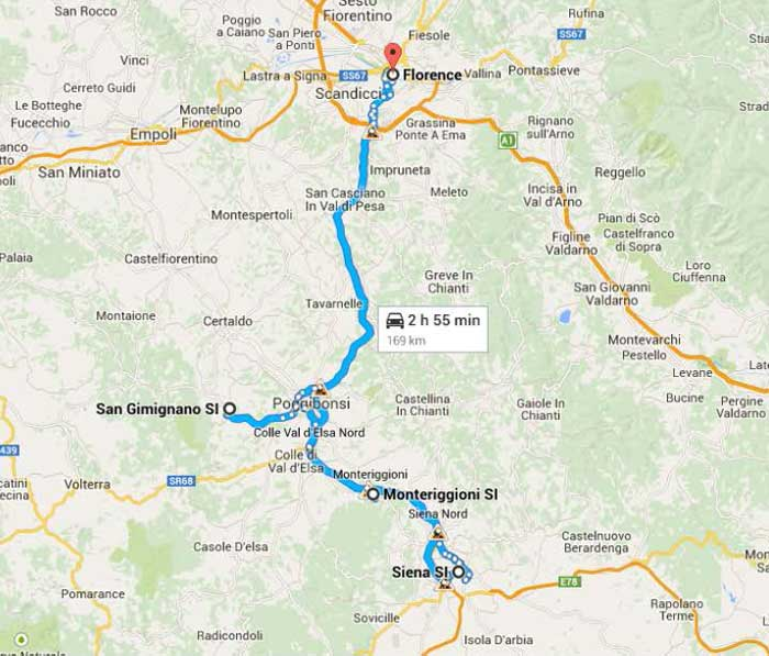 Map of Tuscany route of Siena, San Gimignano and Monteriggioni excursion