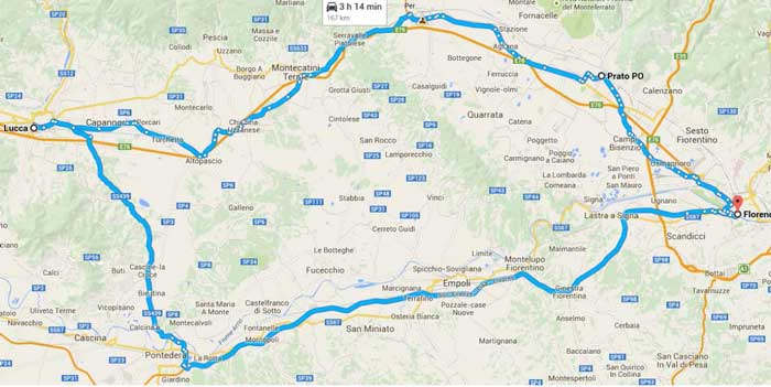 Map of route for Fabric of Lucca excursion