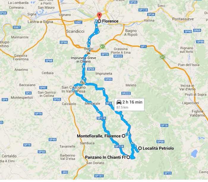 Map of Chianti Escapade Excursion
