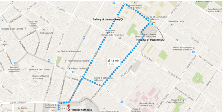 Map of route of Florence family excursion