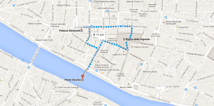 Map of route for florence excursion